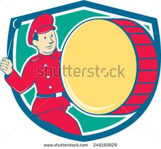 Illustration of a marching band brass band drummer beating drum viewed from side set inside shield on isolated background done in cartoon style.