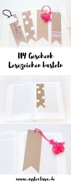 DIY Geschenk - einfache Lesezeichen aus Kraftpapier basteln und mit Quasten verzieren - eine tolle DIY Idee für Kinder