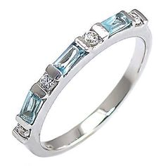 Loretta: 0.72ct Aquamarine & Ice on Fire CZ Stackable Band Ring - Trustmark Jewelers