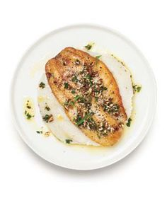 Bass With Potato-Cauliflower Puree from realsimple.com #myplate #protein #vegetables