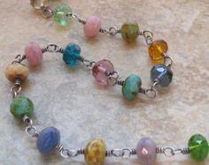 Collar multicolor vidrio Wire Wrap