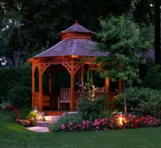 Garden design with a pergola or gazebo is more functional, beautiful and comfortable. Creative and attractive pergolas and gazebos have many advantages. Outdoor Gazebos, Backyard Gazebo, Garden Gazebo, Backyard Landscaping, Outdoor Structures, Landscaping Ideas, Outdoor Spaces, Cozy Backyard, Arbors