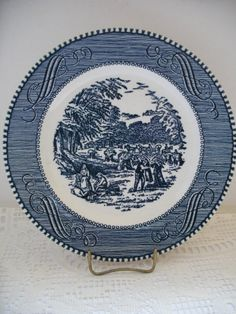 Currier and Ives Dessert Plate Wheat Harvest by TeaTimeVintageShop, $9.00