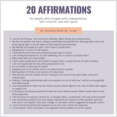 20 Reminders to Help Build Your Self-Esteem in 2020 - Live Well with Sharon Martin Bullet Journal Health, Sharon Martin, Codependency Recovery, Assertiveness, Prayer Quotes, Healthy Relationships, Self Esteem, Get Healthy, Self Care