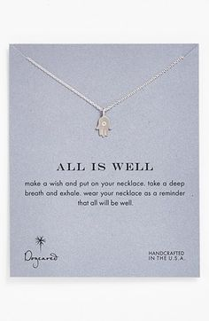 Free shipping and returns on Dogeared 'Reminder - All is Well' Boxed Hamsa Pendant Necklace at Nordstrom.com. An engraved hamsa amulet, an ancient symbol of spiritual protection, graces a delicate chain necklace.