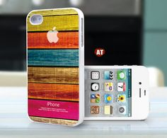 unique iphone 4 case iphone case iphone 4s case iphone 4 cover white iphone case colorized wood texture Iphone Logo design printing. $13.99, via Etsy.
