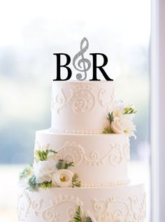 Monogram Wedding Cake Topper – Custom 2 Initials Topper with Music Note, Available in 15 Colors, 12 Fonts and 18 Glitter Options - (S189)