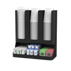 Features:  -6 Compartments holds all your coffee and tea condiments.  -Holds sugars, creamers, stirrers, napkins, tea bags, cups, lids and more.  -Compact design fits on desks, countertops, tables and
