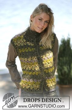 "DROPS Crochet sleeveless cardigan in ""Eskimo"" ~ DROPS Design free pattern Fingerless Gloves Crochet Pattern, Crochet Vest Pattern, Crochet Patterns, Cardigan Pattern, Pull Crochet, Free Crochet, Knit Crochet, Ravelry Crochet, Drops Design"