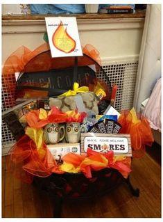 #raffle #baskets #unique #rafflebasketsunique Fundraiser Baskets, Raffle Baskets, Theme Baskets, Themed Gift Baskets, Dating Divas, Fire Pit Gift Basket, Basket Gift, Homemade Gifts, Diy Gifts