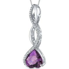 Dangling 3.00 carats Heart shape Sterling Silver Rhodium Finish Amethyst Pendant Peora. $54.99. Save 75%!