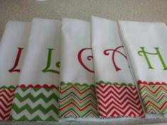 Chevron Christmas Hand Towels Monogrammed by sandysstitches2, $13.00