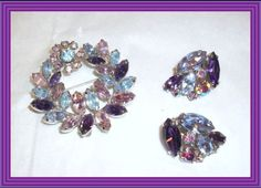 Sherman wreath brooch and earrings set with AB lilac and purple velvet Swarovski