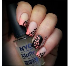 Neon French tip leopard nail art by @Kim Oak-Topolnitsky on instagram