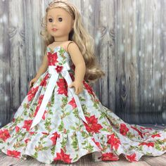Christmas ball gown for 18 inch #dolls fits American Girl doll by Hosch Posch Creations.