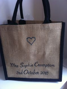 Personalised Bridal Wedding Day Jute Tote Bag with silver sparkles (reverse side) available from www.HarlieLoves.co.uk