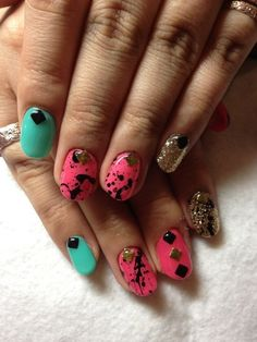 Pink and Teal  with Black Splatter and Sparkles - Nail Art Manicure.