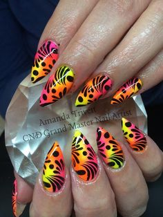 More Neon madness by Amanda Trivett using #Irresisible #NeonNailShadows #nails #nailart