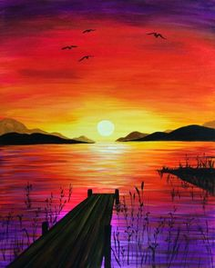 - Anne-v Joly - Wholepics - Malerei & Kunst Easy Canvas Painting, Simple Acrylic Paintings, Canvas Art, Painting Art, Diy Canvas, Sunset Acrylic Painting, Easy Nature Paintings, Beautiful Paintings Of Nature, Painting Classes