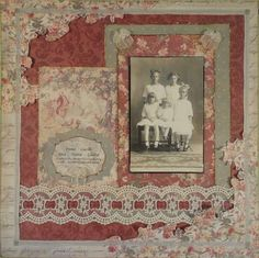 Sisters ~ Lovely Victorian style heritage page with fussy cut flowers and a beautiful ribbon-lace border. For extra punch, I would matt the photo in a dark paper.