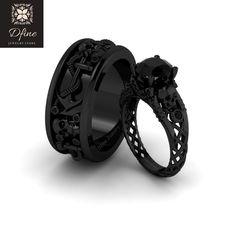 Skull Wedding Ring, Skull Engagement Ring, Black Wedding Rings, Black Rings, Gothic Wedding Rings, Wedding Engagement, Fantasy Jewelry, Gothic Jewelry, Bijoux Louis Vuitton