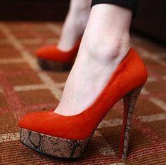 $65 Faux Suede Snake Print High Heels
