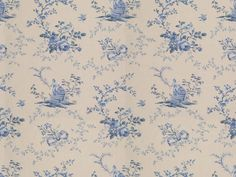 Brunschwig & Fils CHINOISERIE GLAZED CHINTZ CHINA BLUES ON WHITE BR-79177.02 -