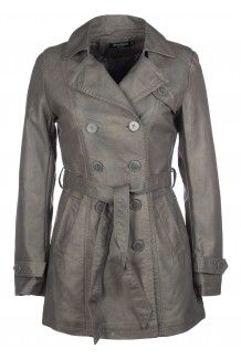 Trench simili cuir gris