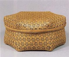 Basketry container for tea set woven in a cloisonne design.    THE 35th EXHIBITION OF JAPANESE TRADITIONAL ART CRAFTS  00540  1988