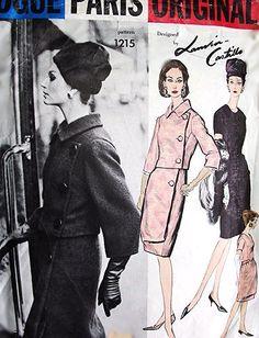 1960s STUNNING Lanvin Castillo Unique Dress and Jacket Pattern VOGUE PARIS Original 1215 Daytime or Cocktail Evening Elegance Bust 32 Vintage Sewing Pattern