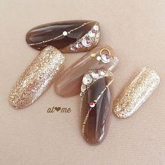 Marble Nail Art, Gel Nail Art, Elegant Nails, Stylish Nails, Japan Nail, Asian Nails, Queen Nails, Jelly Nails, Japanese Nail Art