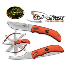 Swingblaze, Orange Kraton Handle, 2 Blades in One w/Sheath