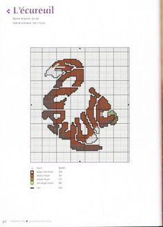 0 point de croix grille et couleurs de fils animaux en lettres écureuil