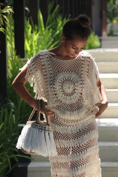 Crochet circle maxi dress crochet boho fringe dress by EllennJames