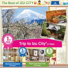 Win a Trip to the Natural Resort City of Izu, Japan - http://www.japanesesearch.com/events/win-trip-natural-resort-city-izu-japan/ Singaporeans! Answer a simple quiz by Jan. 20/15 and you are entered towin a trip to the beautiful natural resort city of Izu, Japan!Lying in the east-central part of Japan, Izu juts out into the Pacific Ocean, with Sagami Bay on the east and Suruga Bay on the west.  Owing to its rolling h... -