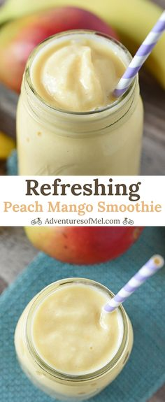 Peach Mango Smoothie recipe that's healthy, quick, and an easy to make snack. Made with 1 banana and a dash of honey, also a tasty addition to mornings. Note can replace milk wth non-fat yogurt to reduce the Weight Watcher points.