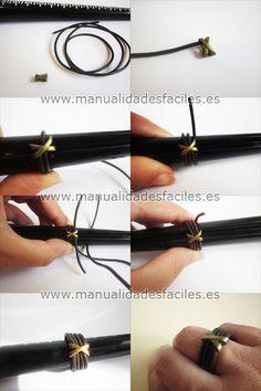 Materiales:      -cordón de cuero de 2 mm      - un espaciador o separador ancho      -pegamento de contacto o pegamento de joyeria            PRECIO DE LOS MATERIALES PARA ESTE PROYECTO 1.50€ DE VENTA EN NUESTRA TIENDA ONLINE            recorta ...