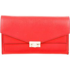 Pre-owned Tory Burch T-Lock Clutch ($295) ❤ liked on Polyvore featuring bags, handbags, clutches, red, tory burch handbags, red handbags, red clutches, man bag and hand bags