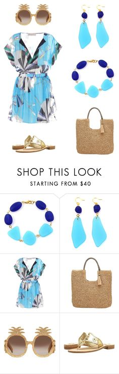 """Summer Brights - Gold and Turquoise"" by manictrout ❤ liked on Polyvore featuring Emilio Pucci, John Lewis, Gucci and Jack Rogers"