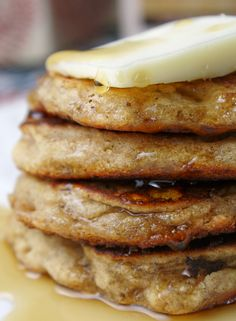 Wholegrain Pancakes - GF & Vegan (yes, I count pancakes as a dessert) Foods With Gluten, Vegan Foods, Vegan Dishes, Vegan Vegetarian, Vegetarian Recipes, Gf Recipes, Gluten Free Recipes, Cooking Recipes, Vegan Gluten Free