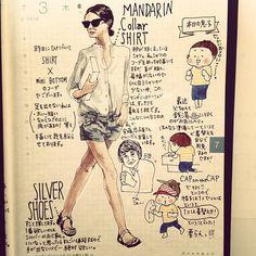 「荷物は極力少なめに、の7月3日の日記。#私は行かない #女湯に1人でつまらないから #ほぼ日 #ほぼ日手帳 #ほぼ日umu #fashion #コーディネート #絵日記 #マンダリンカラー #silver #MANDARINCOLLAR #安藤忠雄 さん」