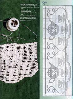 Szydełkomania: Borders for Filet Crochet Charts, Crochet Motifs, Crochet Borders, Thread Crochet, Crochet Doilies, Knit Crochet, Crochet Patterns, Crochet Curtains, Crochet Tablecloth