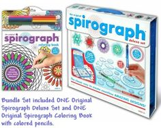 Kahootz Spirograph Deluxe Design Set with Spirograph Coloring Book & Pencils Kit Original Spirograph, Kids Gift Baskets, Ramadan Gifts, Activity Games, Activities, Set Design, Book Design, Craft Organization, Guide Book