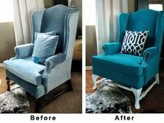 multiple ideas for how to paint/dye an upholstered chair.