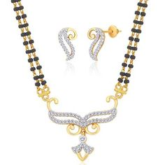Viyari Aanya Goldtone Indian Mangalsutra 16 Inch with 1/2 Inch Extender Necklace Earrings Jewelry Set