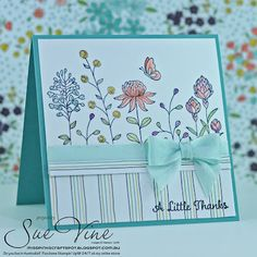 Stampin' Up! Flowering Fields stamp set and coordinating Wildflower paper - both part of 2016 Sale-A-Bration