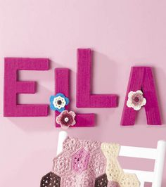 #Yarn wrapped letters for a #baby's room! @Lion Brand #yarn