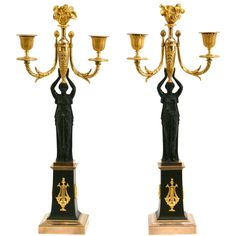 Pair of Empire gilt and patinated bronze candelabras, France c. 1820