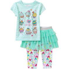 Healthtex Baby Toddler Girl Tee and Skirted Legging Set