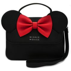 Loungefly Disney Minnie Mouse Ears Red Bow Kawaii Crossbody Purse ($64) ❤ liked on Polyvore featuring bags, handbags, shoulder bags, handbags crossbody, faux-leather handbags, shoulder handbags, crossbody purse and man bag
